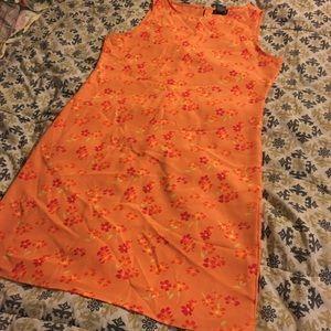 New York & Company Orange Floral Dress